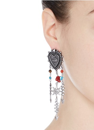 Figure View - Click To Enlarge - Valentino - 'Santeria' ethnic heart arrow drop earrings
