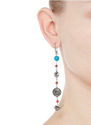 Figure View - Click To Enlarge - Valentino - 'Santeria' beaded brass plate drop asymmetric earrings