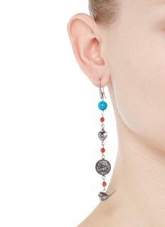 Valentino'Santeria' beaded brass plate drop asymmetric earrings