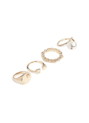 Detail View - Click To Enlarge - Valentino - 'Rockstud' glass pearl four ring set