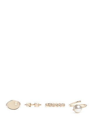 Main View - Click To Enlarge - Valentino - 'Rockstud' glass pearl four ring set