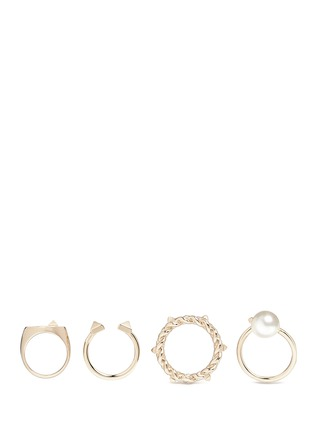 Figure View - Click To Enlarge - Valentino - 'Rockstud' glass pearl four ring set