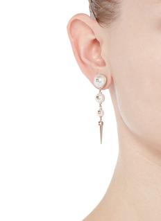 Valentino'Rockstud' glass pearl spike drop earrings