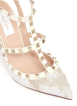 Detail View - Click To Enlarge - Valentino - 'Rockstud' caged leather Swarovski crystal pumps
