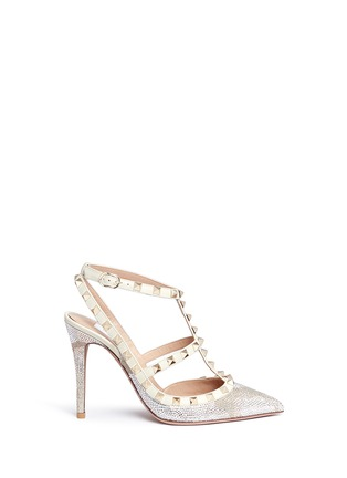 Main View - Click To Enlarge - Valentino - 'Rockstud' caged leather Swarovski crystal pumps