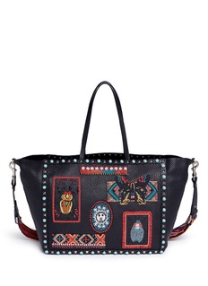Valentino 'Guitar Rolling Rockstud' medium beaded patch leather tote