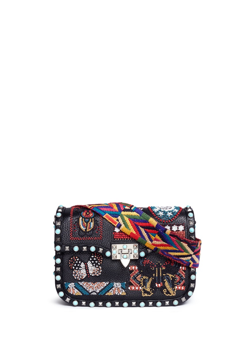 Guitar Rockstud Rolling Cuban embellished leather crossbody bag by Valentino