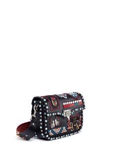 Valentino'Guitar Rockstud Rolling' Cuban embellished leather crossbody bag