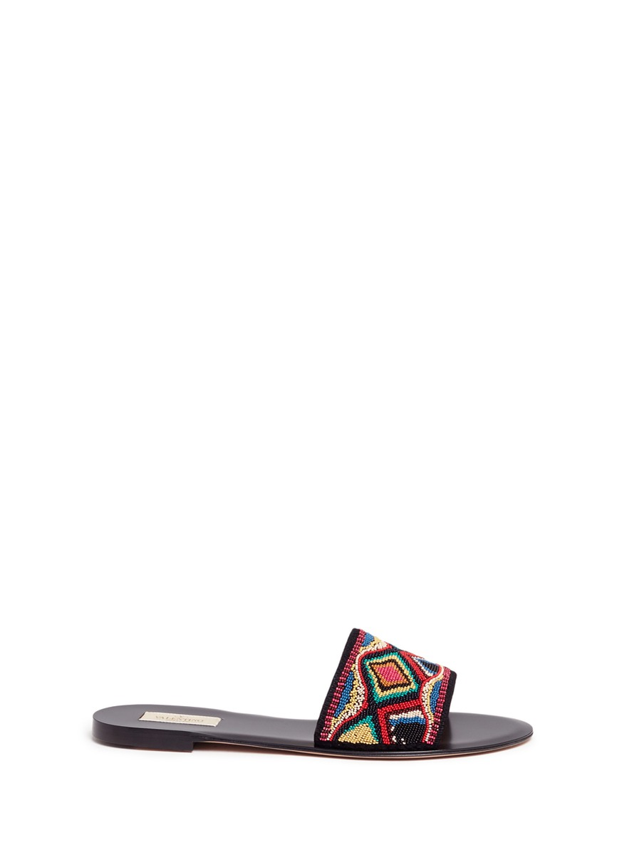 Native Couture beaded suede slide sandals by Valentino