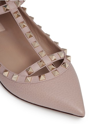Detail View - Click To Enlarge - Valentino - 'Rockstud' caged calfskin leather skimmer flats