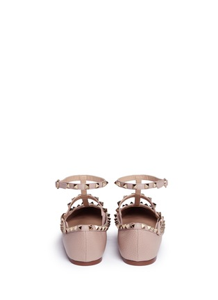 Back View - Click To Enlarge - Valentino - 'Rockstud' caged calfskin leather skimmer flats