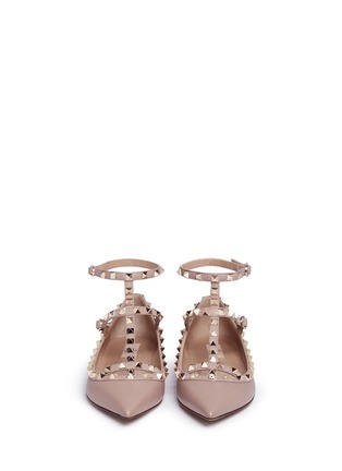 Front View - Click To Enlarge - Valentino - 'Rockstud' caged calfskin leather skimmer flats