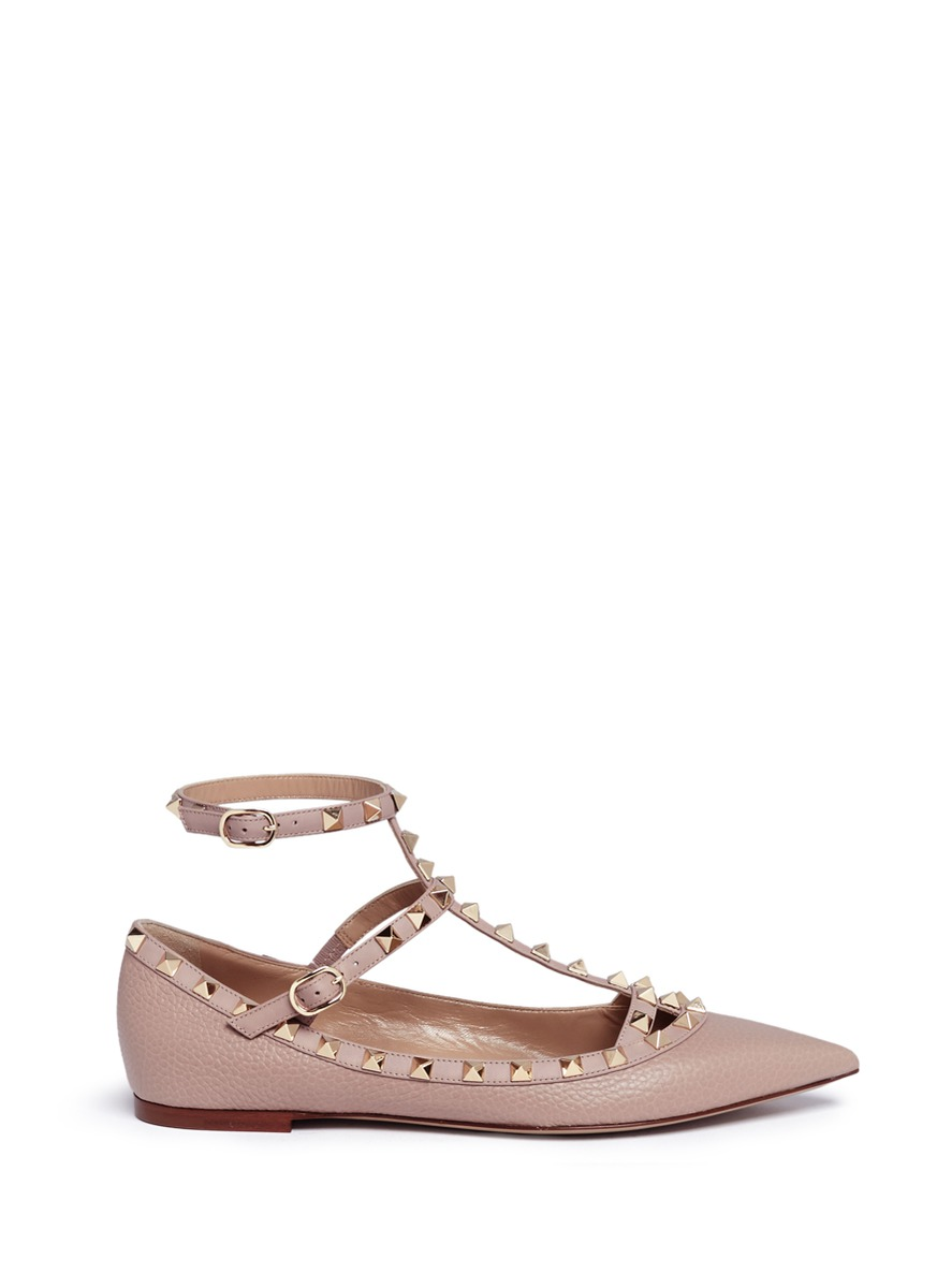 Rockstud caged calfskin leather skimmer flats by Valentino
