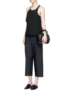 T By Alexander Wang Asymmetric cold shoulder eyelet crepe top