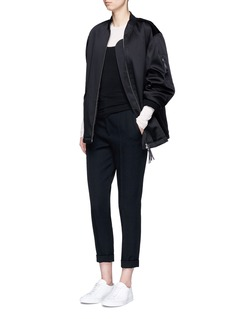 T By Alexander WangWater resistant padded satin oversized bomber jacket