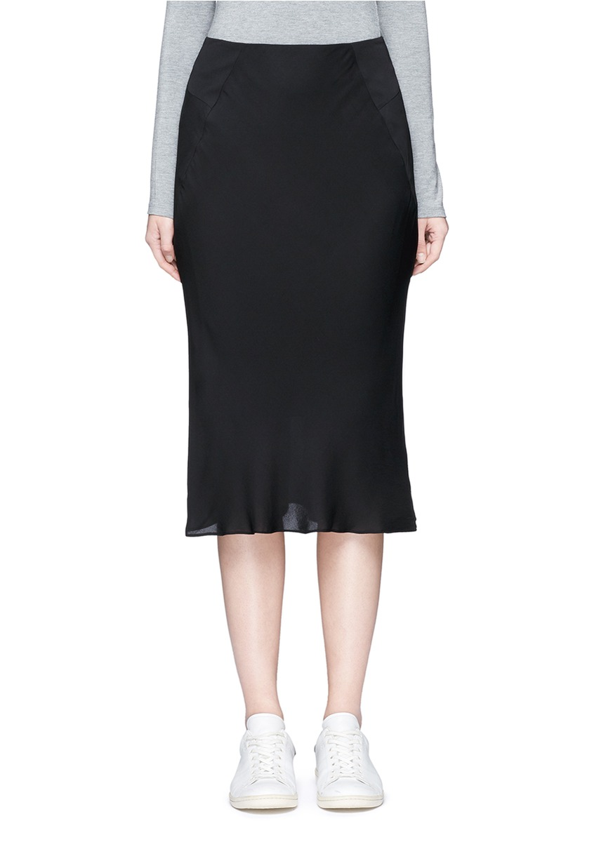 Godet back crepe skirt by T By Alexander Wang
