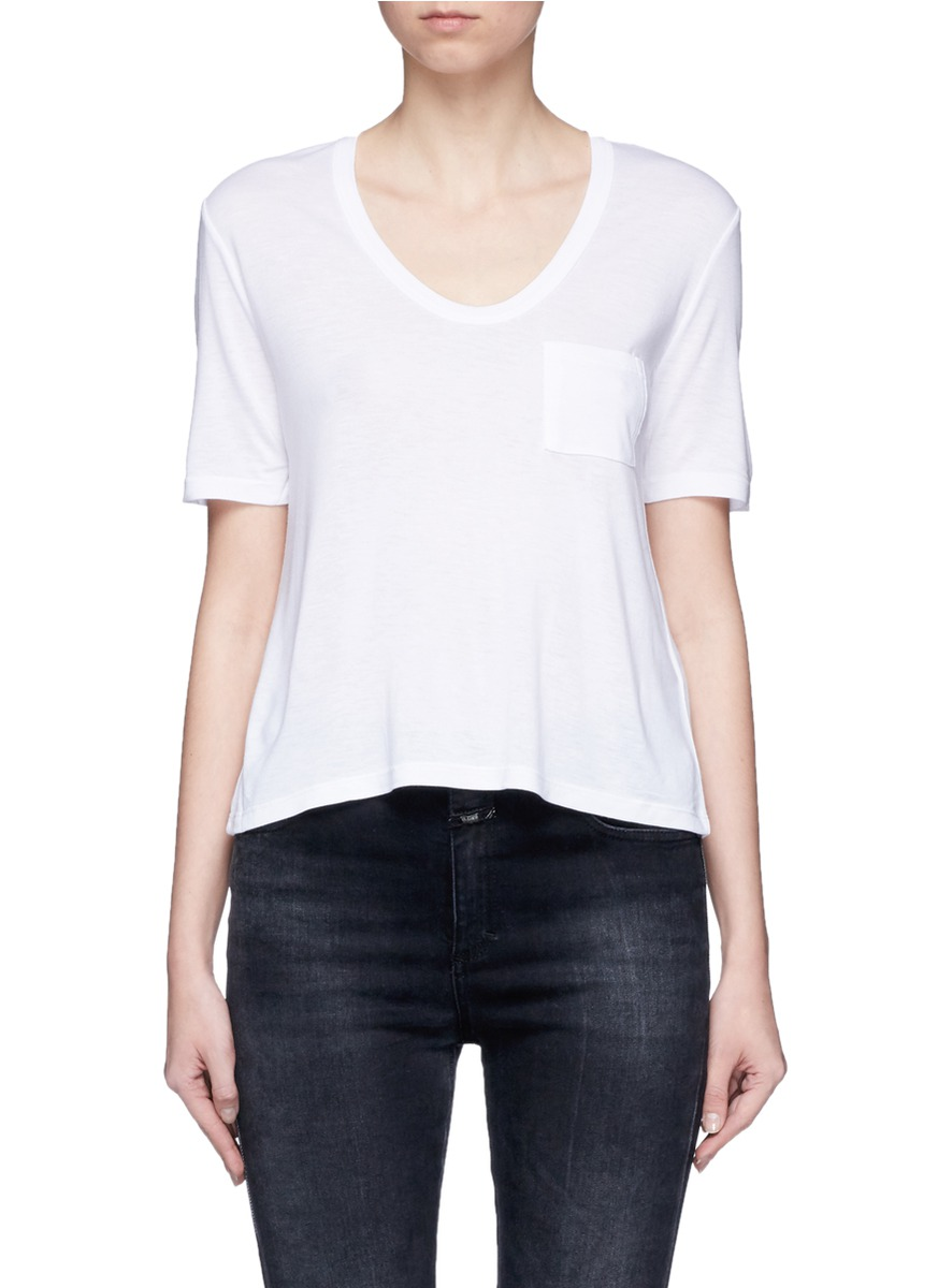 Patch pocket scoop neck T-shirt by T By Alexander Wang
