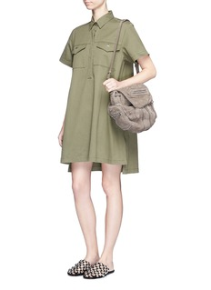 T By Alexander Wang High-low hem cotton twill utility dress