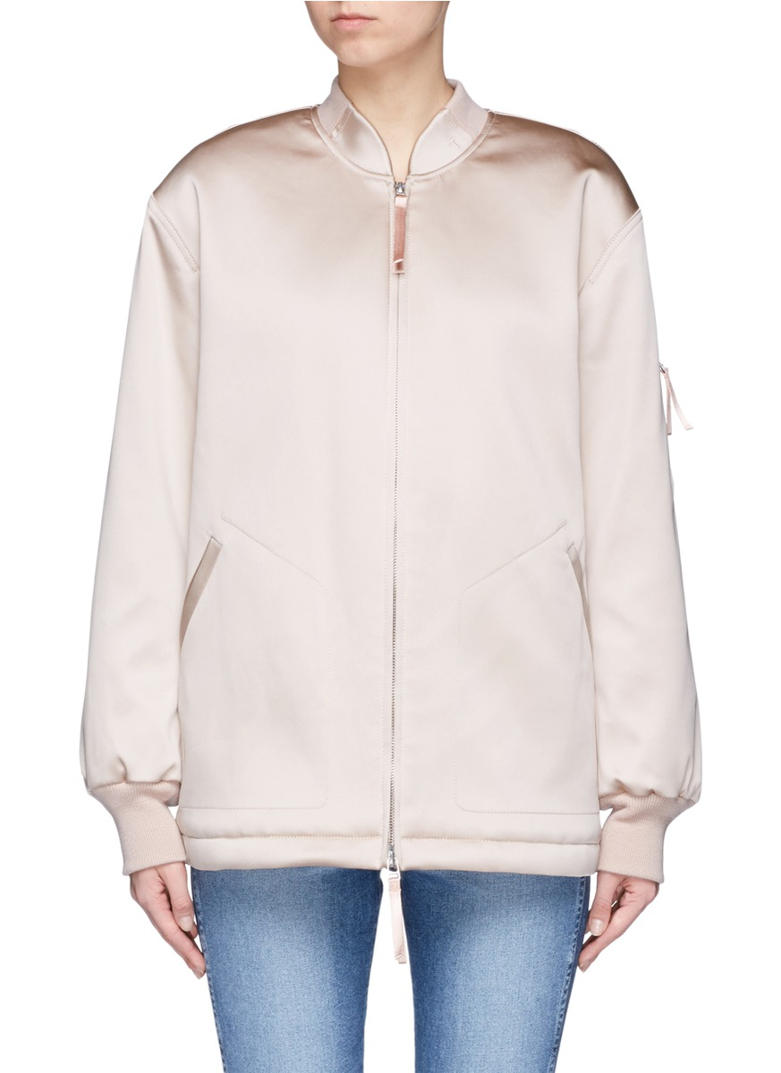Water resistant padded satin oversized bomber jacket by T By Alexander Wang