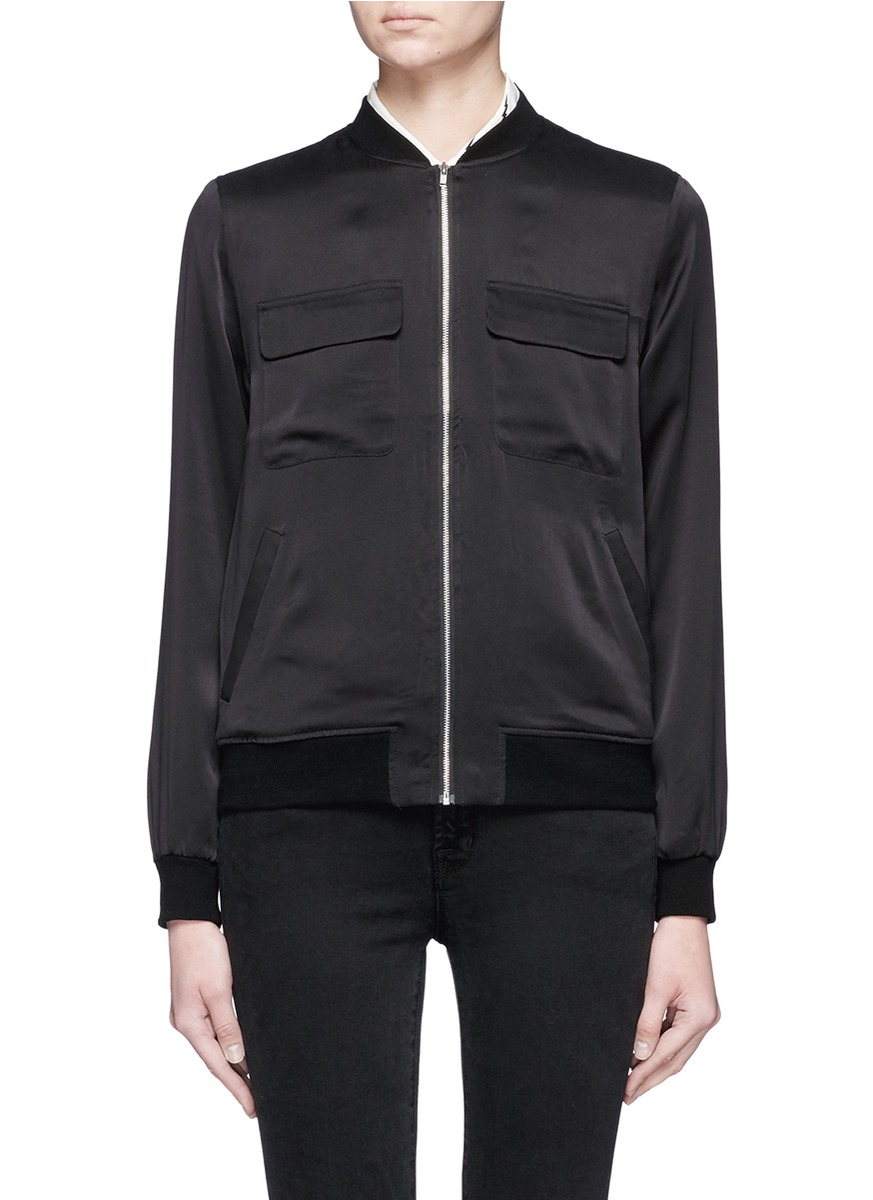 Abbot satin bomber jacket by Equipment