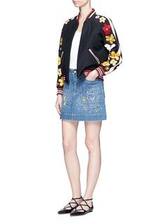 alice + olivia'Tony' floral embroidered bomber jacket