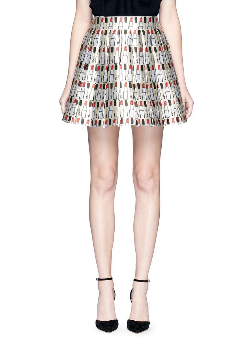 alice olivia female fizer mixed lipstick print box pleat skirt