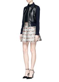 alice + olivia'Fizer' mixed lipstick print box pleat skirt
