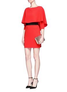 alice + olivia'Cairo' cape overlay crepe dress