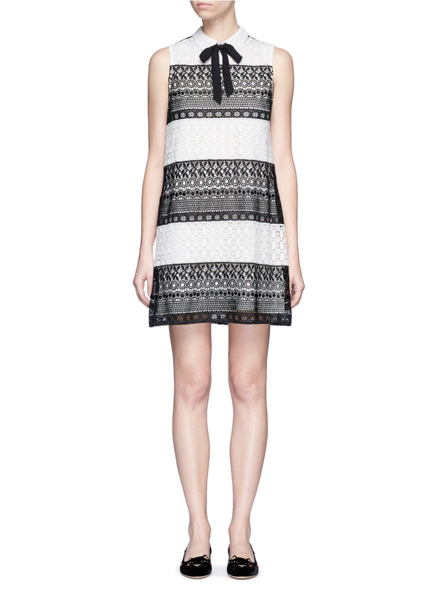 Hilly bow collar geometric eyelet lace dress by alice + olivia