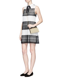alice + olivia 'Hilly' bow collar geometric eyelet lace dress