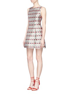 alice + olivia 'Lindsey' mixed lipstick print A-line dress