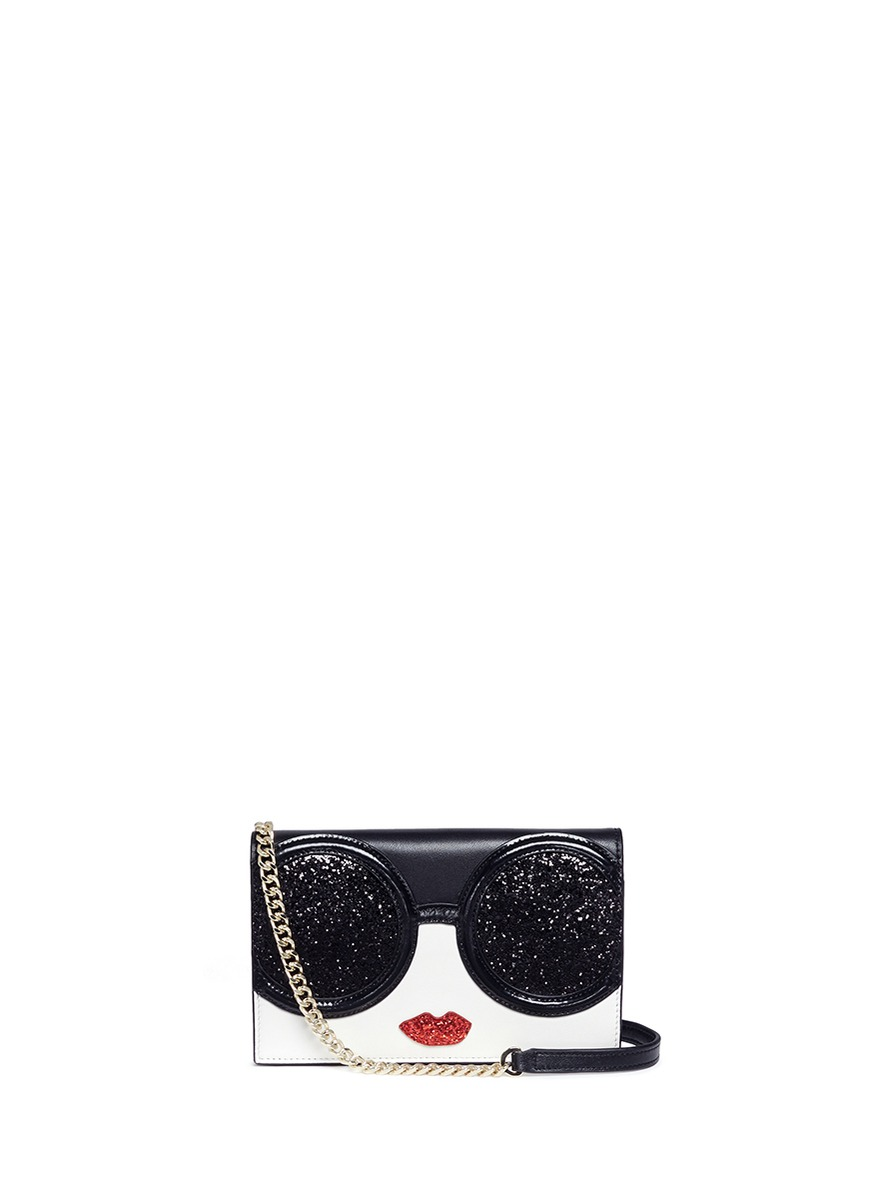 Stace Face glitter leather crossbody wallet by alice + olivia