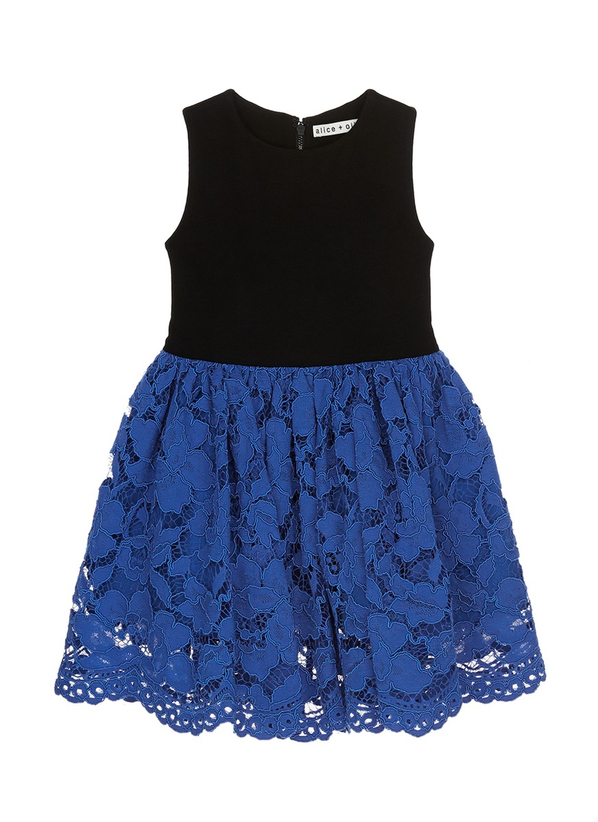 Jersey panel floral lace kids pouf dress by alice + olivia
