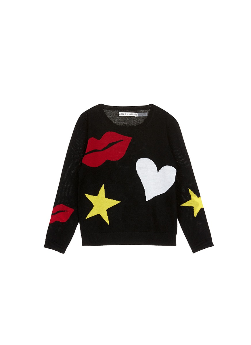 Heart lip and star intarsia wool kids sweater by alice + olivia