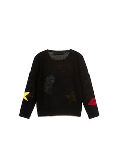 alice + olivia Heart lip and star intarsia wool kids sweater