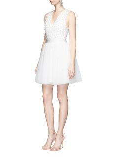 alice + olivia'Shanda' glass pearl embellished tulle dress