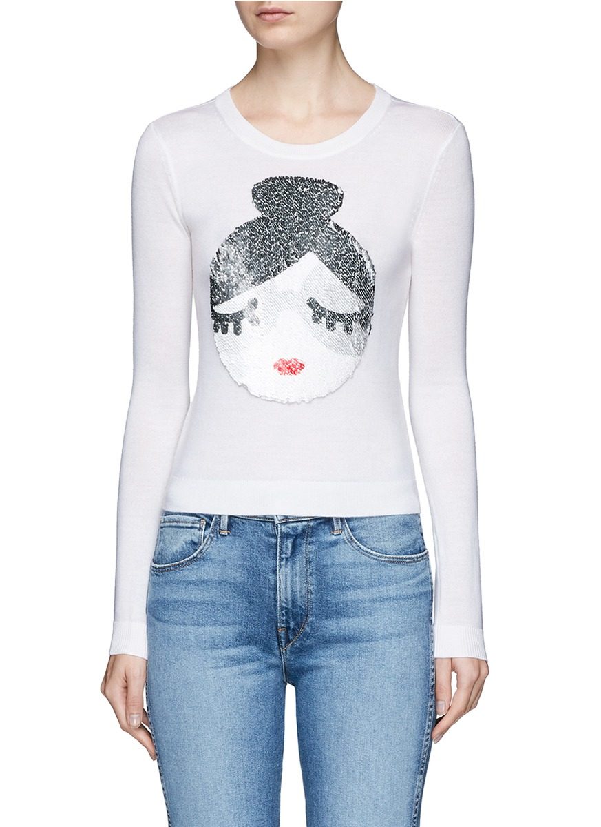 Peekaboo sequin Stace face wool sweater by alice + olivia
