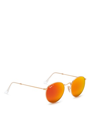 Figure View - Click To Enlarge - Ray-Ban - Round metal mirror sunglasses