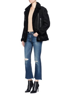 rag & bone/JEAN'Crop Flare' distressed frayed cuff jeans