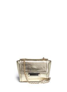 DIANE VON FURSTENBERG440 Mini lizard emboss metallic leather bag