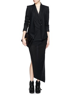 HELMUT LANG Scrunch neck stretch wool tuxedo jacket