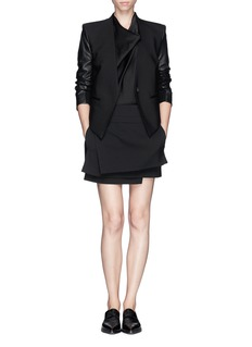 HELMUT LANG Leather sleeve cropped back tuxedo jacket
