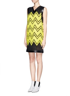 ALEXANDER WANG  Lamb leather trim chevron embroidery dress