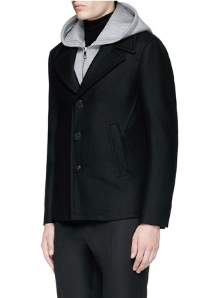 Front View - Click To Enlarge - Neil Barrett - Slim fit vest underlay wool peacoat