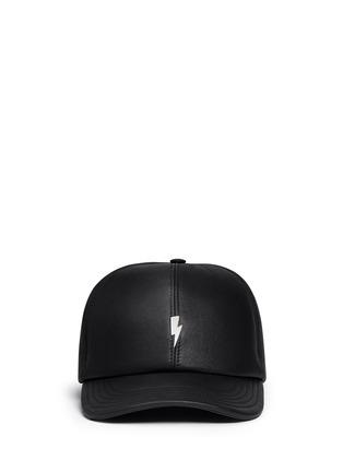 Main View - Click To Enlarge - Neil Barrett - Thunderbolt bonded leather baseball cap