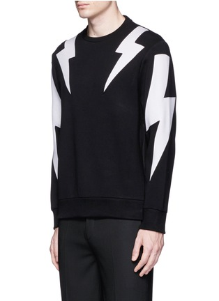 Front View - Click To Enlarge - Neil Barrett - 'Thunderbolt' print zip side sweatshirt
