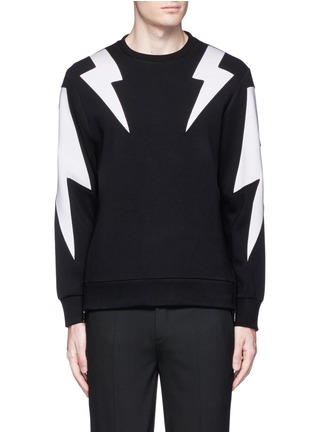Main View - Click To Enlarge - Neil Barrett - 'Thunderbolt' print zip side sweatshirt
