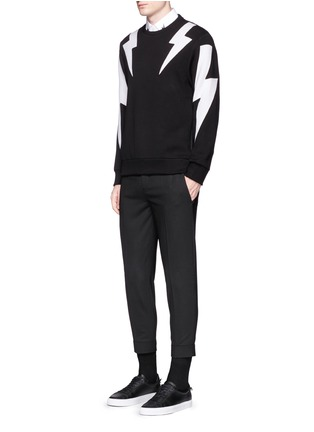 Figure View - Click To Enlarge - Neil Barrett - 'Thunderbolt' print zip side sweatshirt