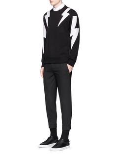 Neil Barrett'Thunderbolt' print zip side sweatshirt