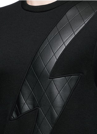 Detail View - Click To Enlarge - Neil Barrett - Leather thunderbolt side zip sweatshirt